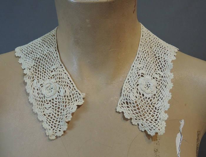 2 Vintage Child's Crochet Lace Collars, Antique  1900s Handmade Lace