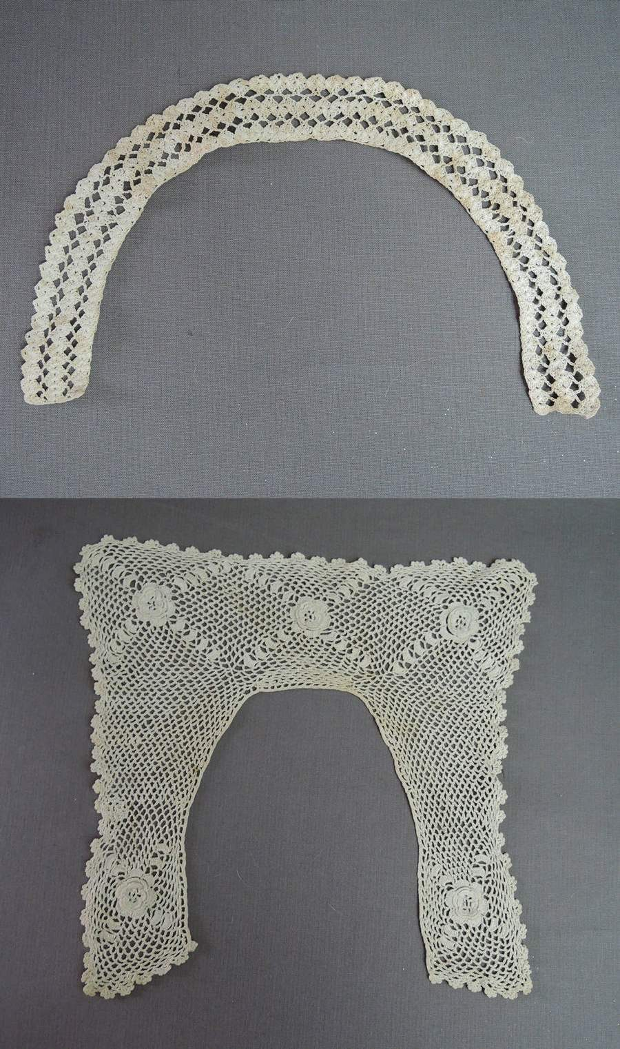 2 Vintage Child's Crochet Lace Collars, Antique  1900s Handmade Lace