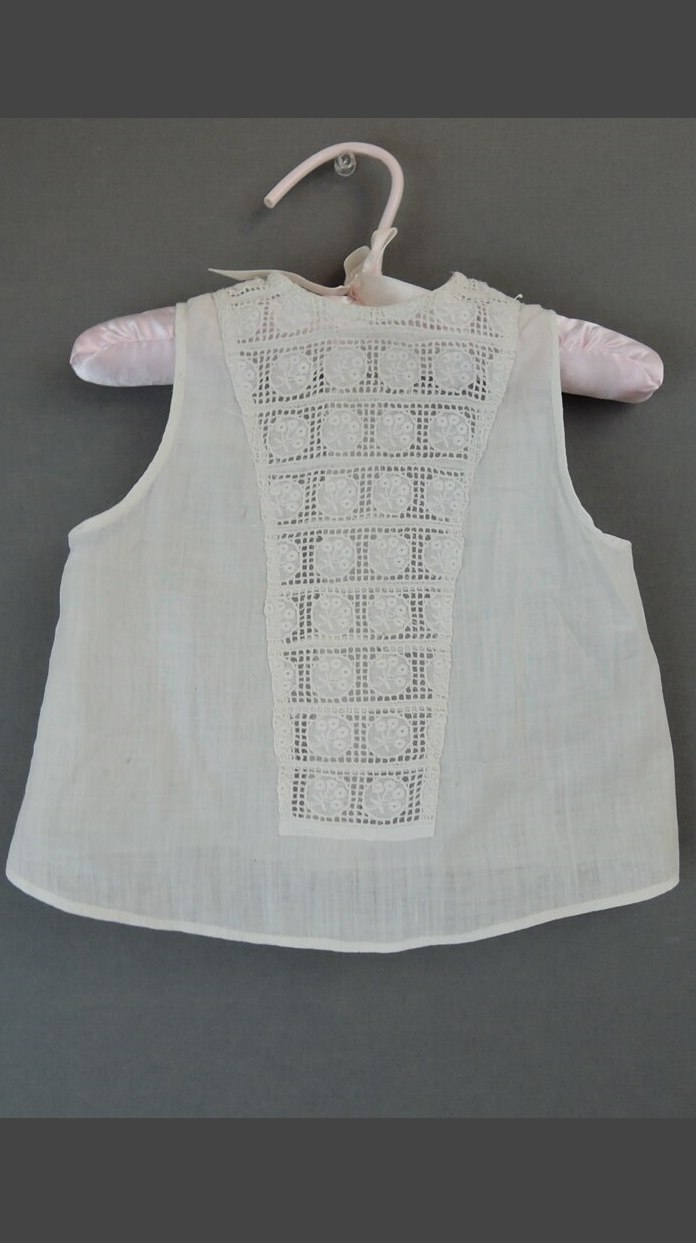 Vintage Edwardian Lace Child Shirt, 1900s White Cotton Dickie Shirt, #1