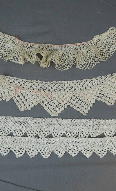 3 Vintage Lace Trims, Crochet Clothing Trim Antique Edwardian Lace Pieces