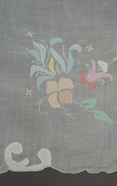 Vintage Small Tablecloth Table Topper Organdy with Pastel Appliques, 33 x 34 inches,