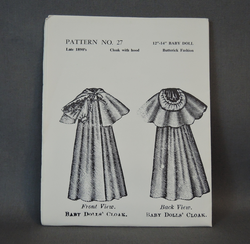 Vintage Doll Clothing Clothes Pattern - late 1890s style Cloak with Hood 12 to 14 inch baby Doll