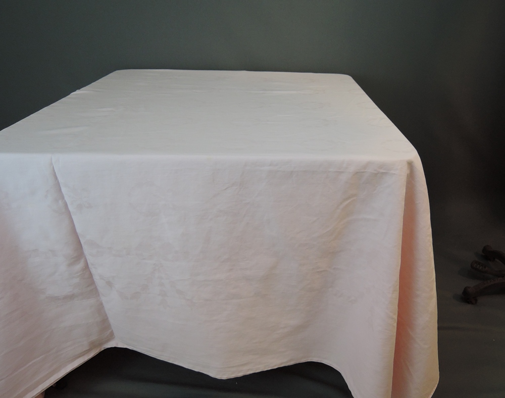 2 Vintage Tablecloths Pink Damask Large 86 x 85 inches