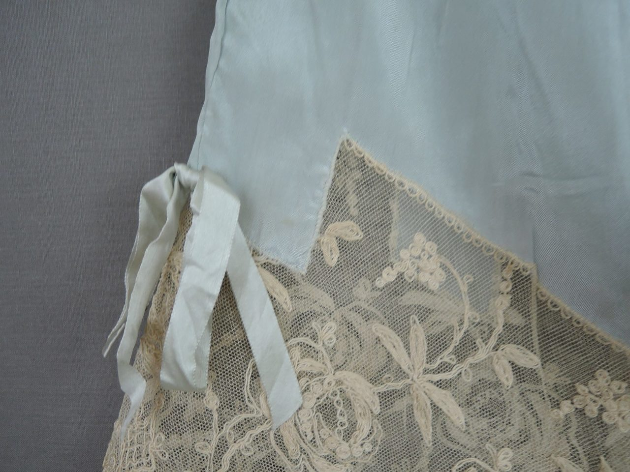 Antique 1920s Silk Bra and Panties Set, Bandeau, Blue-Green with Ivory Lace