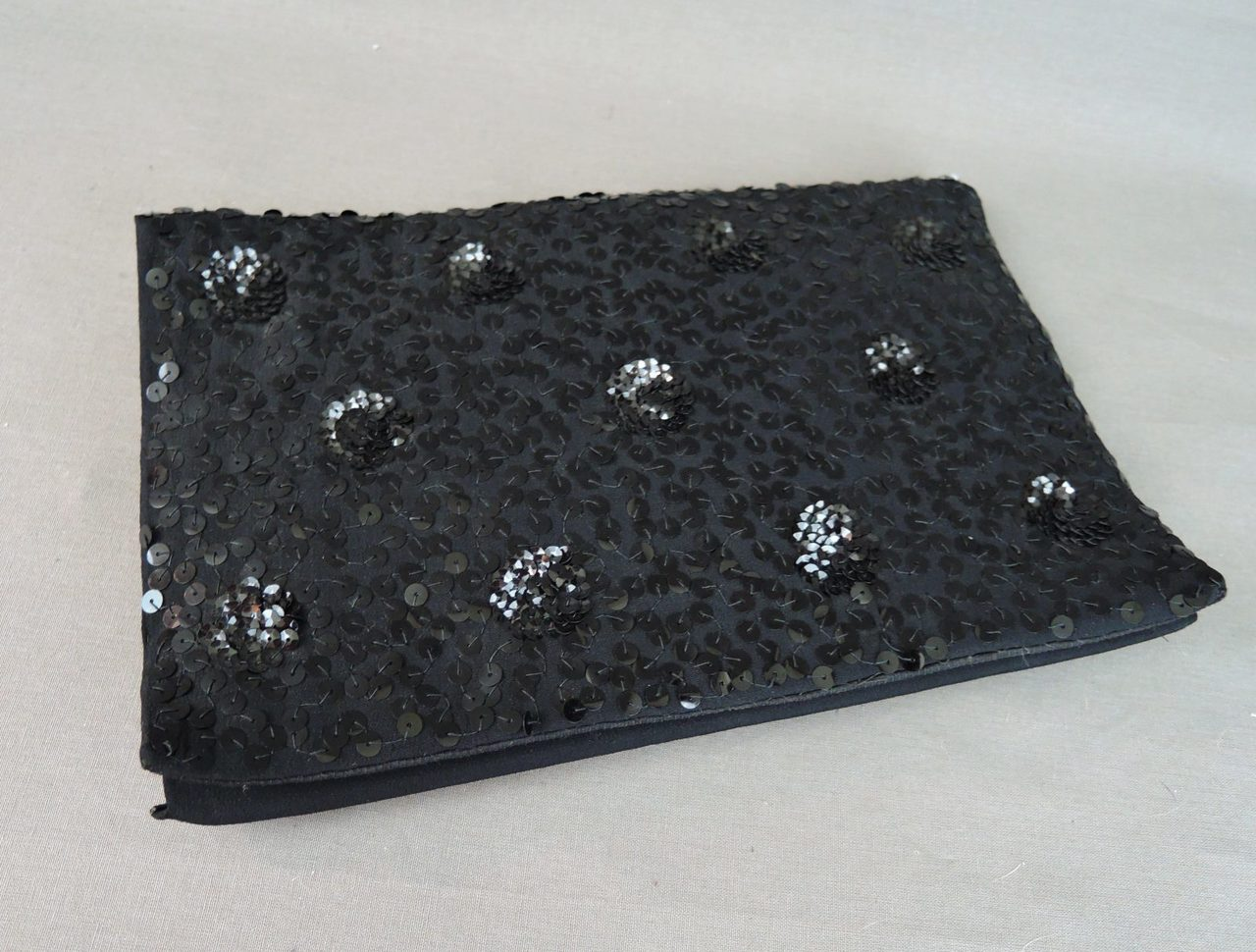 Vintage 1930s Sequin Purse & Hat, Black Evening Clutch and Skullcap set