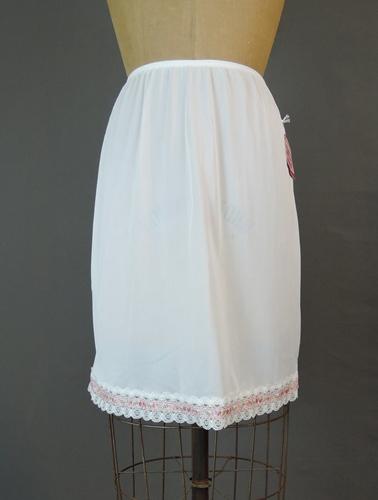 Vintage 1960s 'Sears Doesn't Slip' White Nylon Half Slip with Pink Floral Trim, 24 - 29 waist