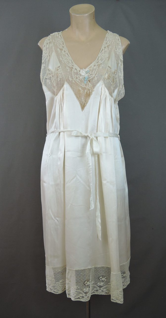 Vintage 1920s Ivory Silk & Lace Slip or Nightgown, fits 36 inch bust, Trousseau, with issues