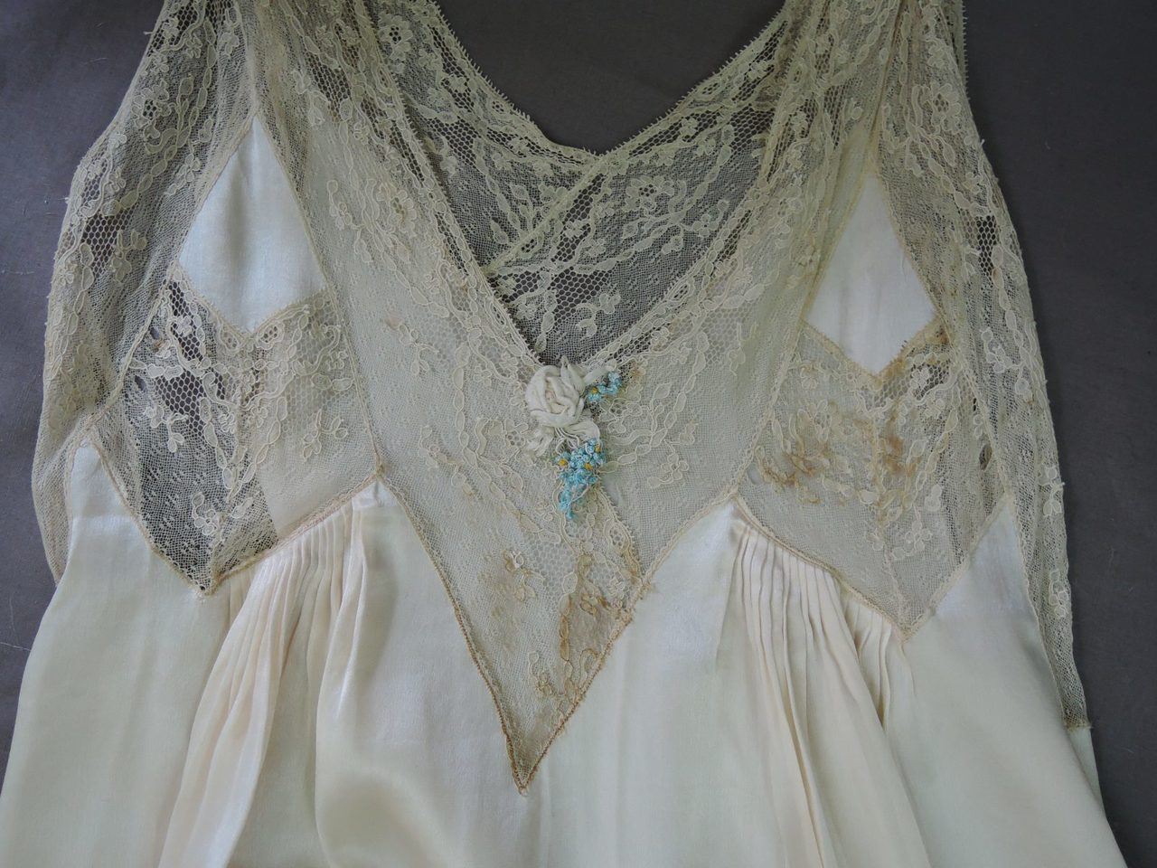 Vintage 1920s Ivory Silk & Lace Slip or Nightgown, fits 36 inch bust, Wedding Trousseau, with issues
