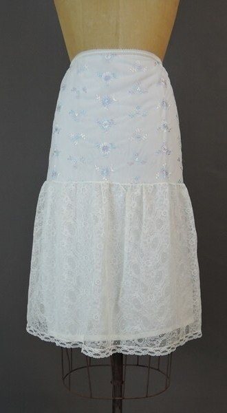 Vintage 1960s Half Slip with Pastel Embroidery & Wide Lace Bottom, large