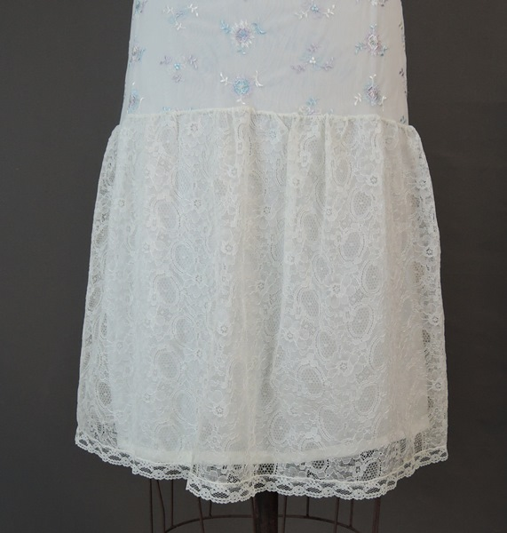 1960s Half Slip with Pastel Embroidery & Wide Lace Bottom, large