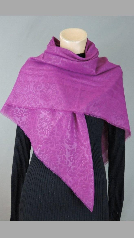 Vintage Dark Pink Scarf Embossed Floral 45x45 square Challis