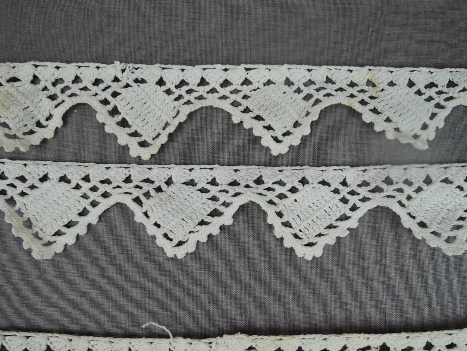 Antique Crochet Lace Trims, Edwardian Lingerie 1900s Handmade Lace 3 Pieces