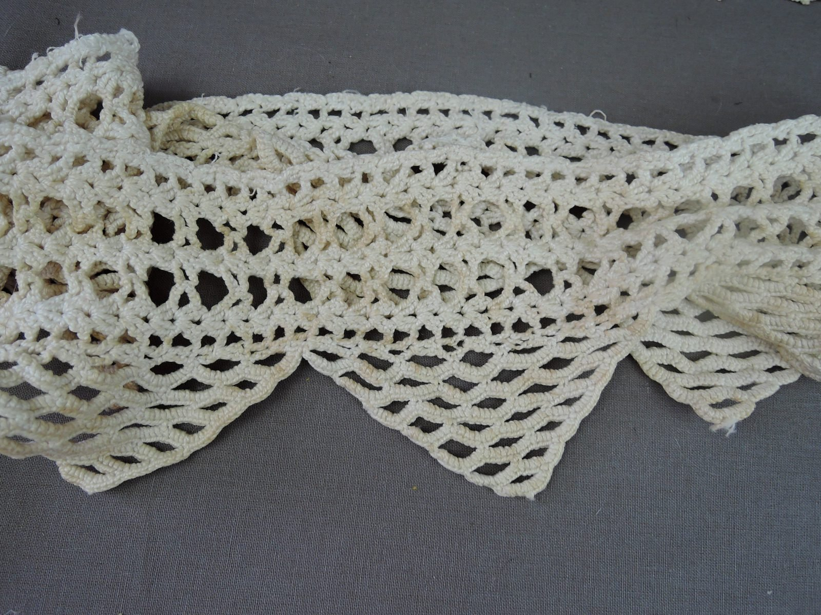 Antique Crochet Lace Trims, Victorian Edwardian Handmade Lace Trim, 2 pieces
