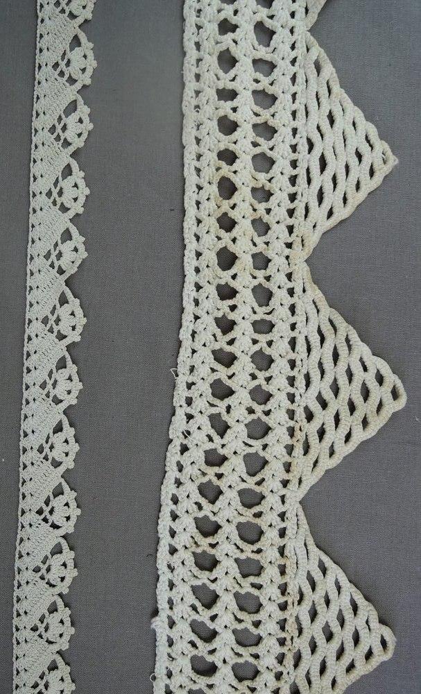 Antique Crochet Lace Trims, Victorian Edwardian Handmade Lace Trim, 2 pieces