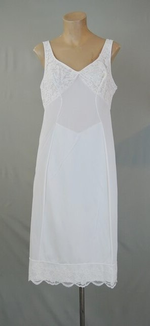 Vintage 1960s White Nylon Full Slip with Tank Top Straps, 40 bust
