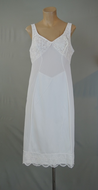1960s White Nylon Full Slip with Tank Top Straps, 40 bust