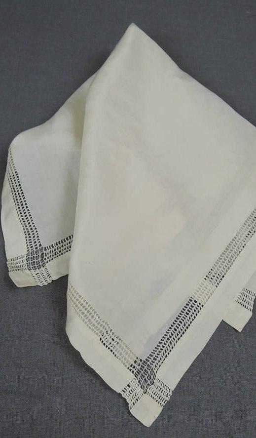 Vintage 1920s Silk Hankie, 14 x 13-1/2 inches, Antique Wedding Hankie