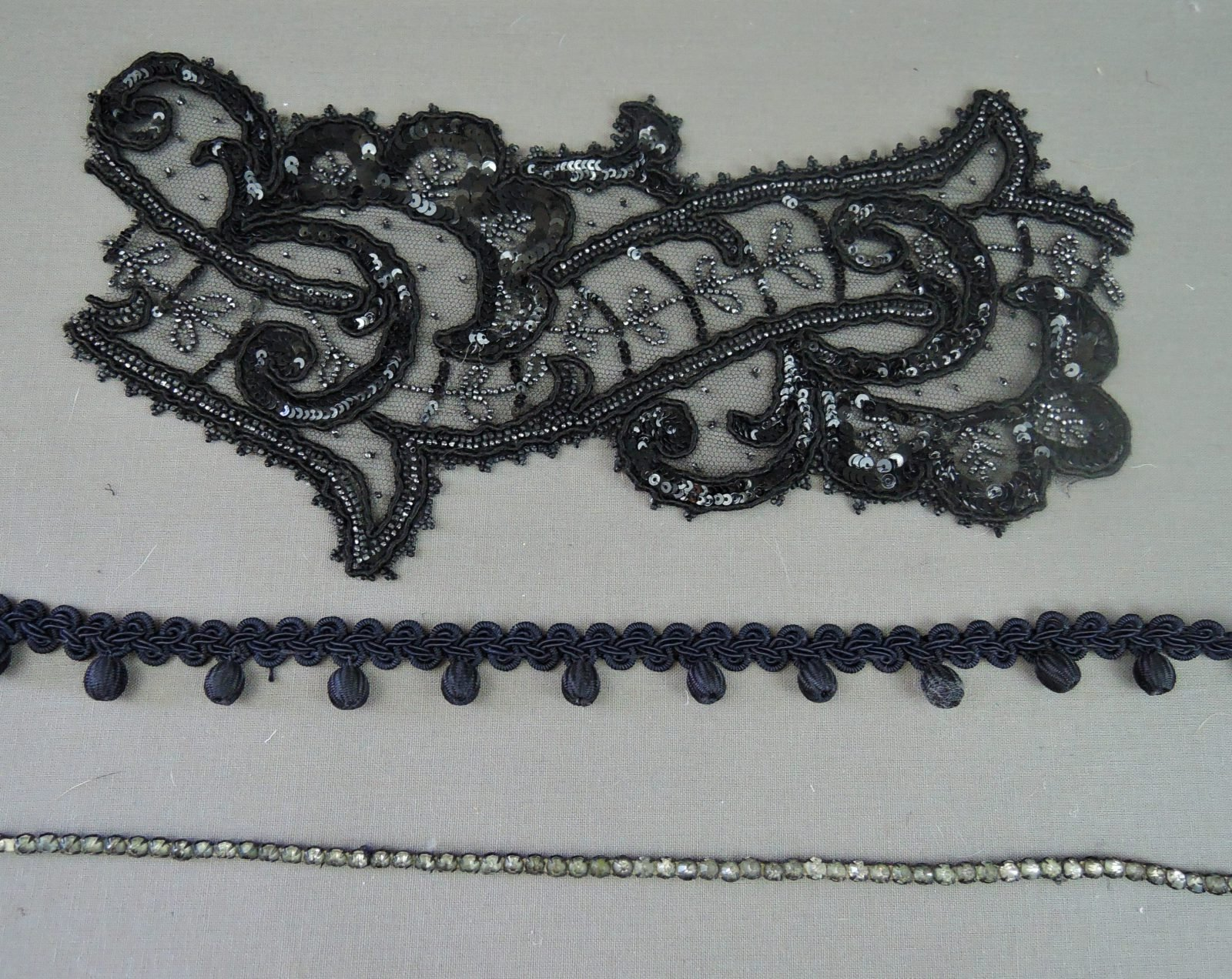 Vintage Trims Beaded Lace Applique, Rhinestone Trim and Rayon Ball Trim