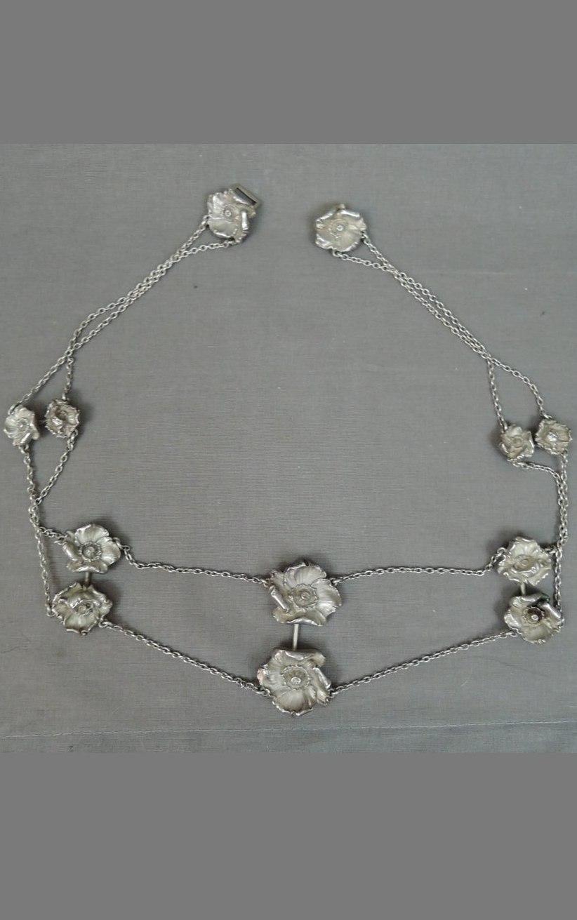 Antique 1900s Sterling Belt Art Nouveau Poppy Flowers by William B. Kerr Co. Rare