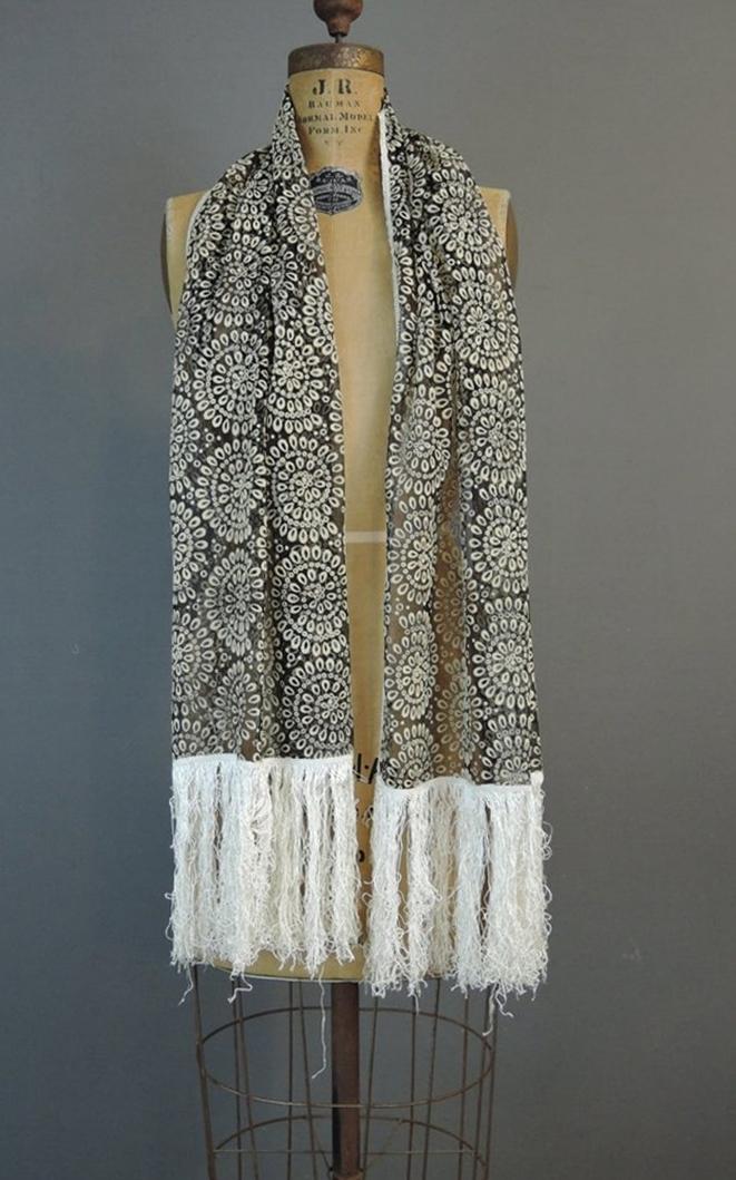 Vintage Black & White Sheer Fringed Shawl, Long Narrow Scarf