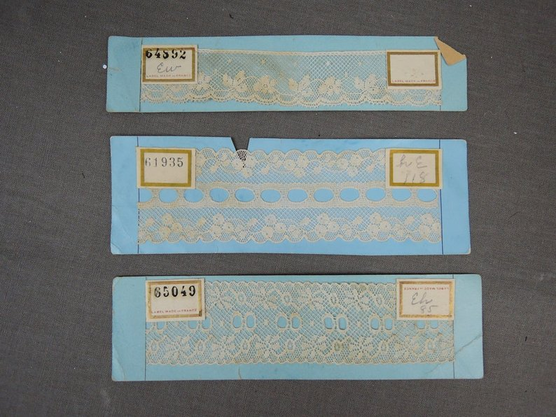 7 Vintage Lace Samples on Cards, Edwardian to 1920s, Antique Cotton French Lace