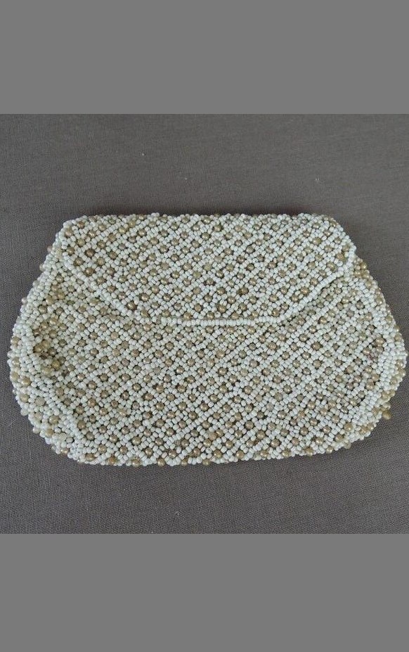 Tiny Vintage Beaded Purse, 1930s White Beads & Pearls, 5-1/2 inches France