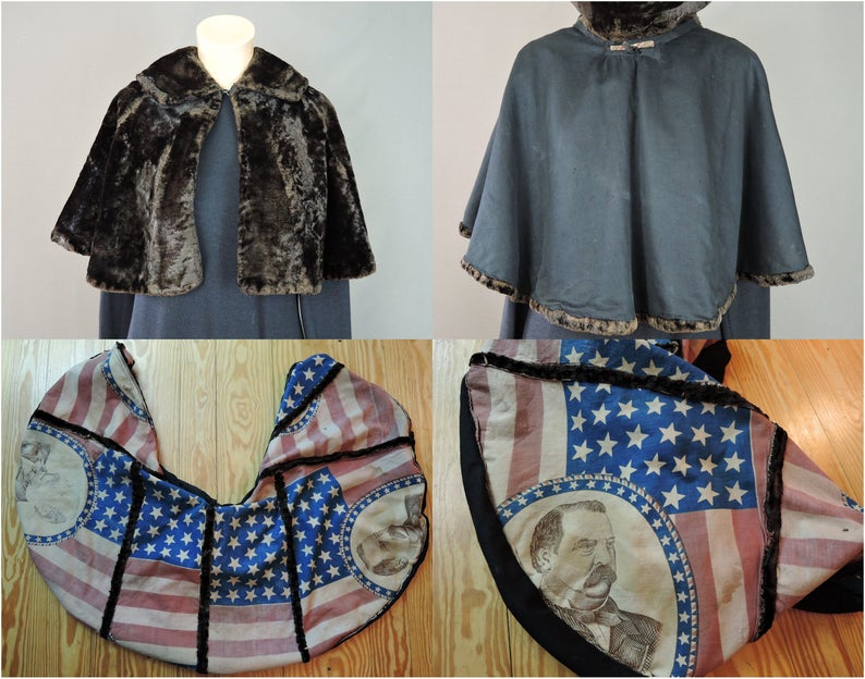 Antique Victorian Brown Silk Velvet Cape, 1880s with Grover Cleveland Flag inner Lining