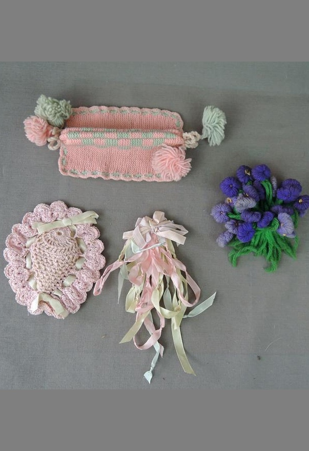 Vintage Lot of Cute Little Ribbon & Crochet Things, Flowers, Sachet, Cozy