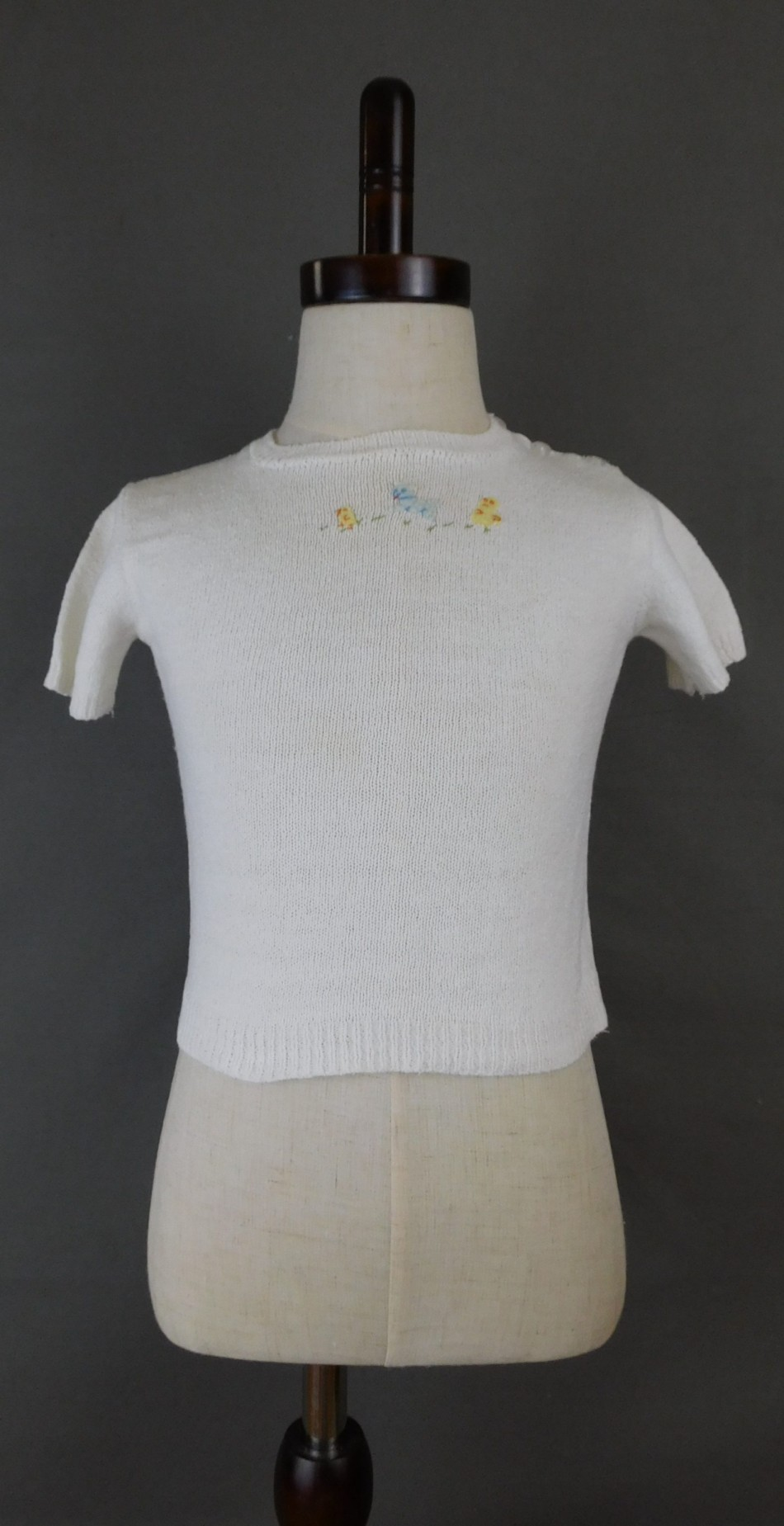 Vintage Baby Sweater, White Cotton Knit 1930s 1940s with Ducks & Lamb