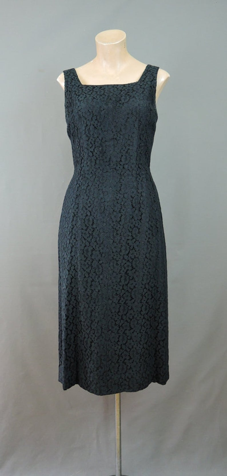 Vintage Black Lace Cocktail Dress with Tails, Party Dress 1960s fits 36 bust