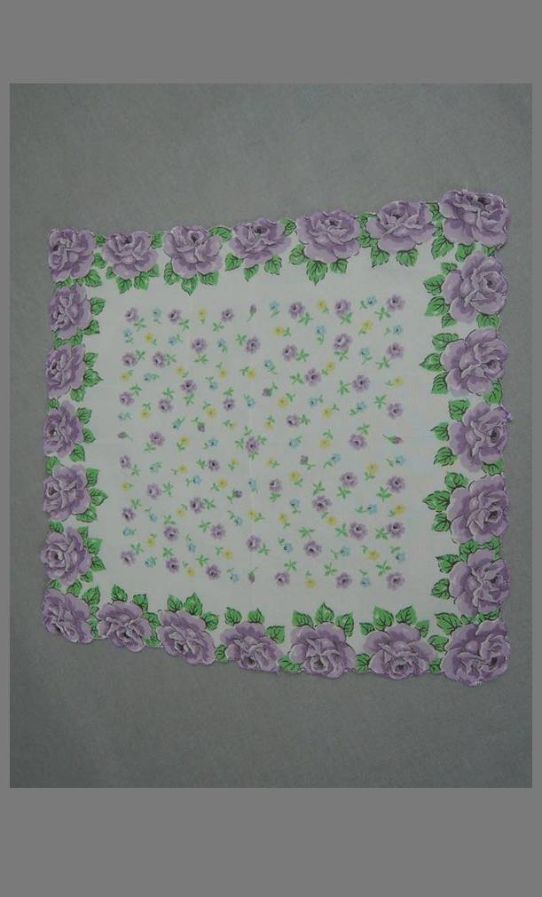 Vintage Hankie 1950s Purple Rose Floral Nylon Chiffon