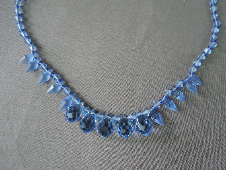 Vintage Blue Crystal Glass Necklace, 1920s 1930s, 19 inches long