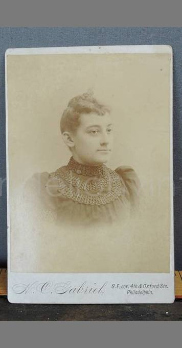 Antique Cabinet Photo, Woman in Victorian Bodice 6-1/2 x 4 inches 1800s early 1900s