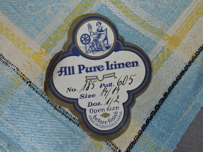 Vintage Blue & Yellow Damask Tablecloth + 6 Napkins Set, Unused 1940s Kitchen Linens Czechoslovakia