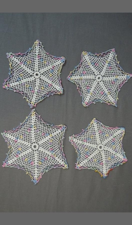 4 Vintage Crochet Doilies, White & Pastel, Hand Made 1940s Doily set