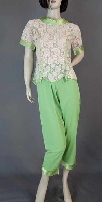 Vintage  Green Nylon Pajamas with Satin Trim & Ivory Lace, 34 bust