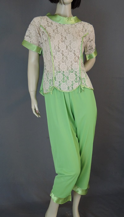1960s Green Nylon Pajamas with Satin Trim & Ivory Lace, 34 bust