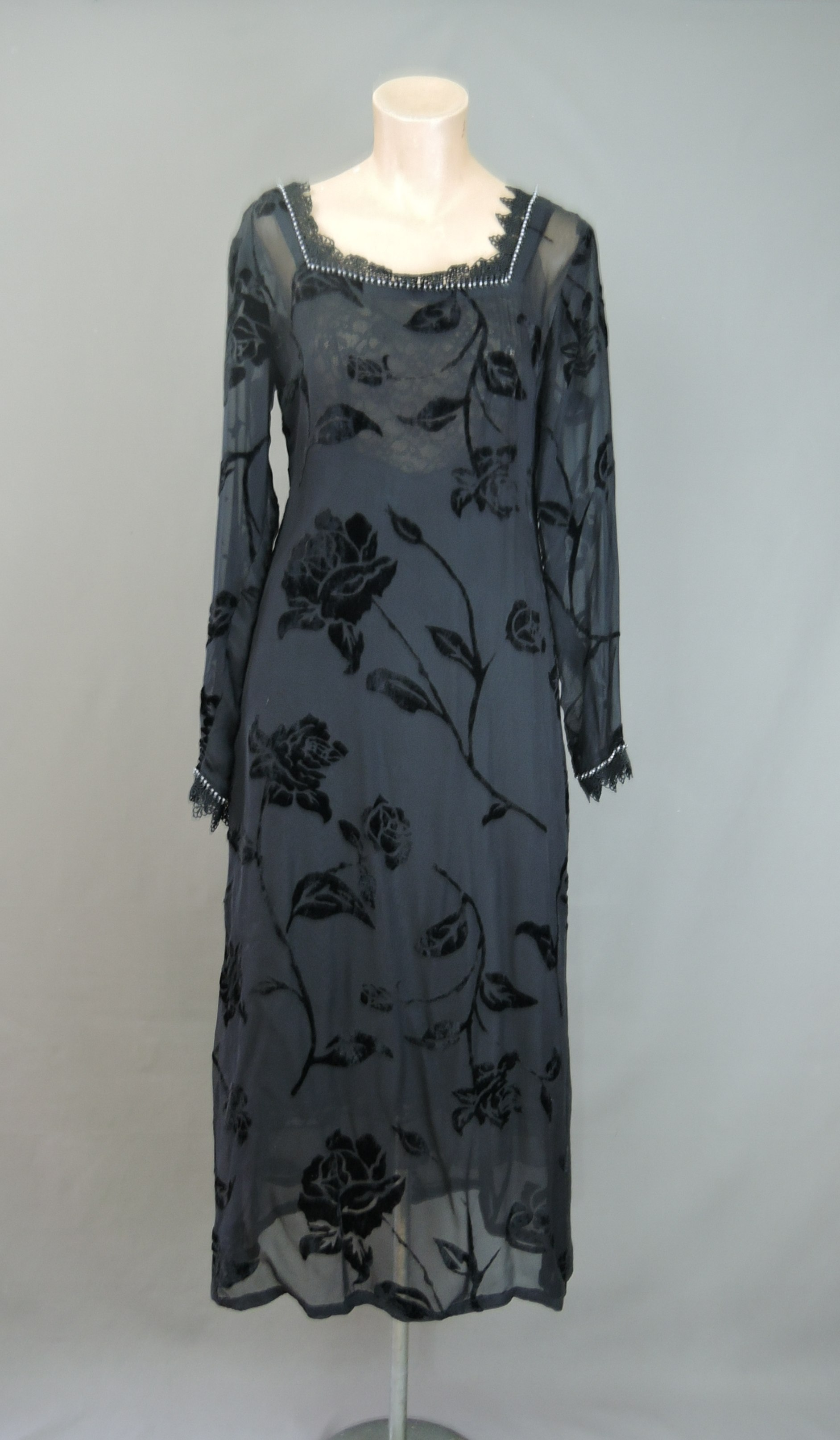 Vintage Sheer Black Dress, Velvet Floral with Lace and Rhinestones, fits 34 inch bust