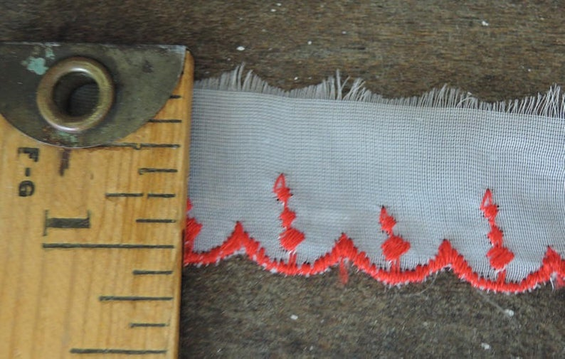 15 yards Vintage White Chiffon Trim with Red Embroidery, 3/4 inch wide, Doll Trim Lace