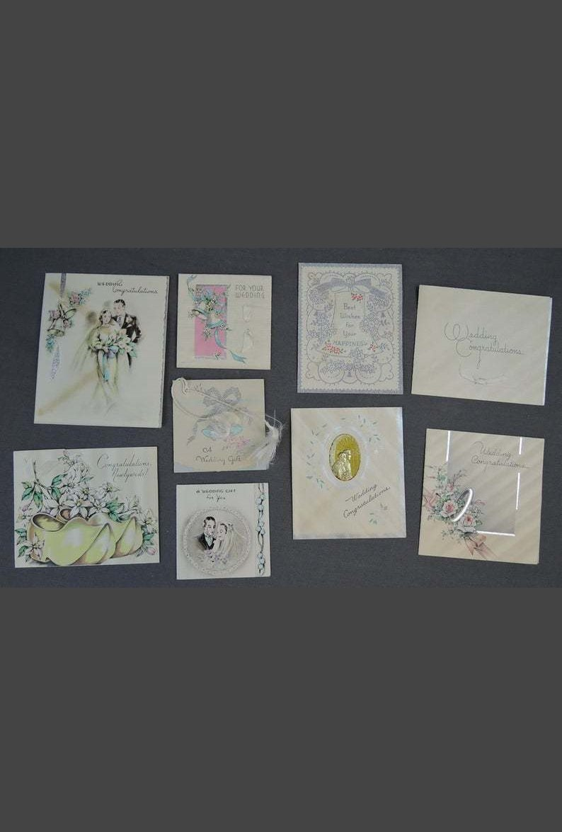 Vintage 1930s Wedding Gift Card Lot, Art Deco Bride 1937
