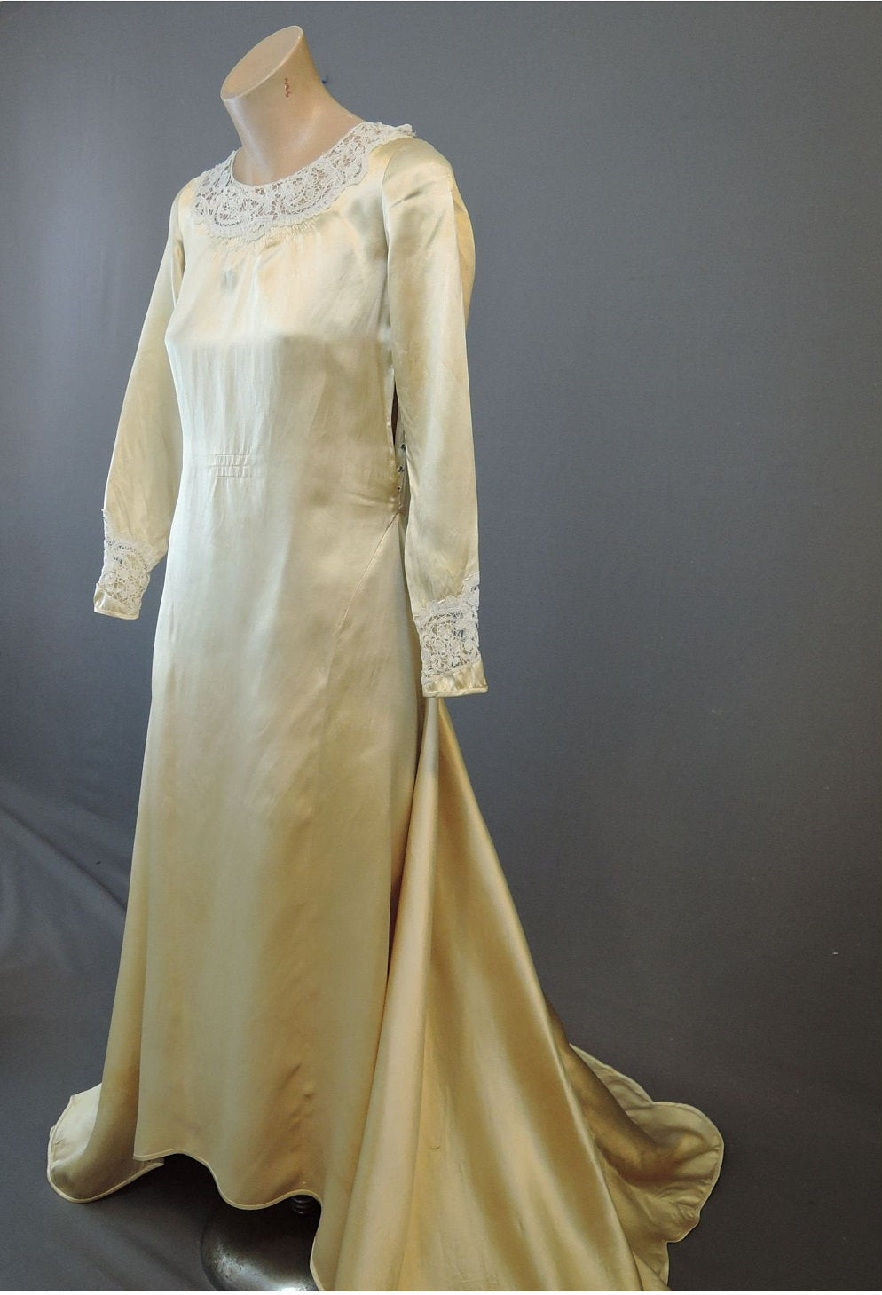 Vintage 1920s Ivory Satin Wedding Gown, 32 inch bust Antique Dress with issues