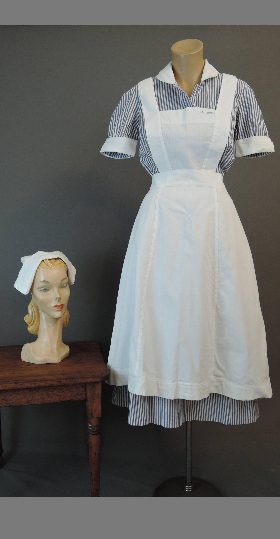 Vintage 1950s Nurse Uniform Dress with Apron, Bib & Cap, 34 bust, Student Nurse, Blue Striped Cotton