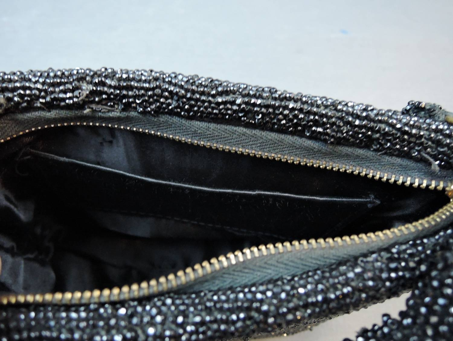 Vintage 1940s Black Beaded Purse, Evening Bag 8x6 inches