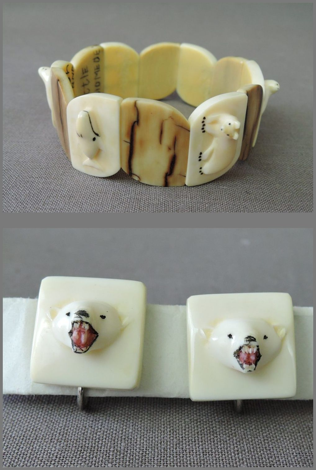 1940s Carved Bone Bracelet and Earrings Set, Alaskan Artist signed, handmade, Little Diomede
