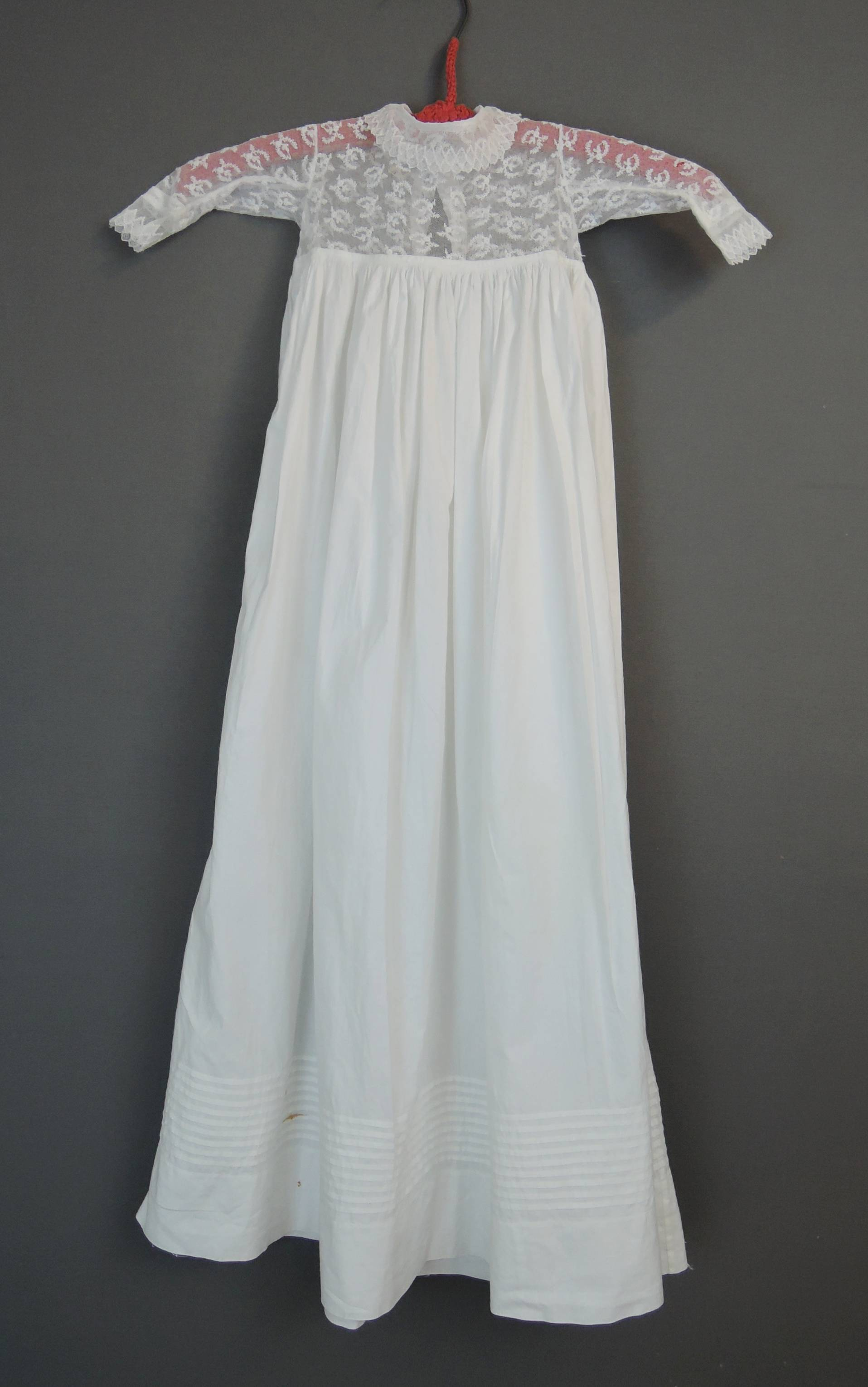 Antique White Cotton Infant Baby Dress, Long Gown with Lace , 18 inch chest