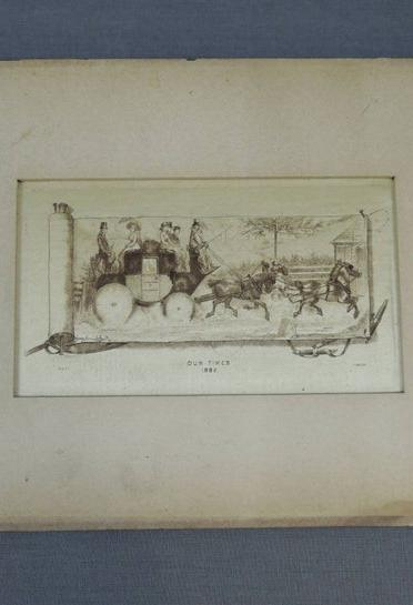 Antique 1882 Silk Print 'Our Times' London, Etching, Original Mat, wood back