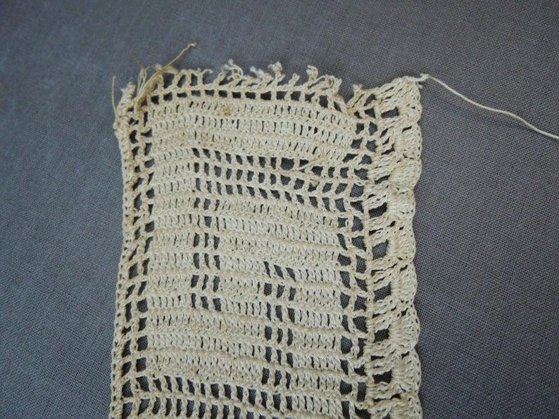 Antique Crochet Lace Trim, Handmade Edwardian 1900s, 37 inches long, Dress Blouse
