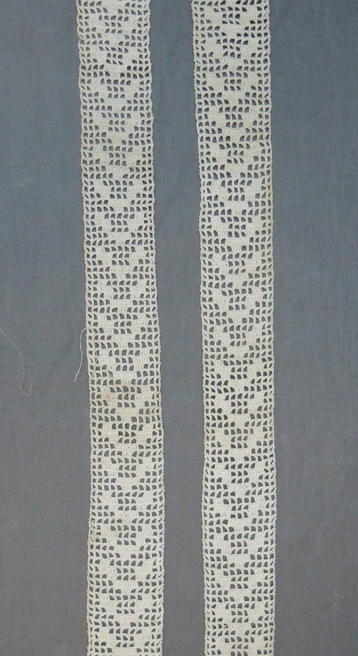 2 Antique Crochet Lace Trim Pieces, Handmade 20 inches long, Edwardian Lingerie Blouse Dress
