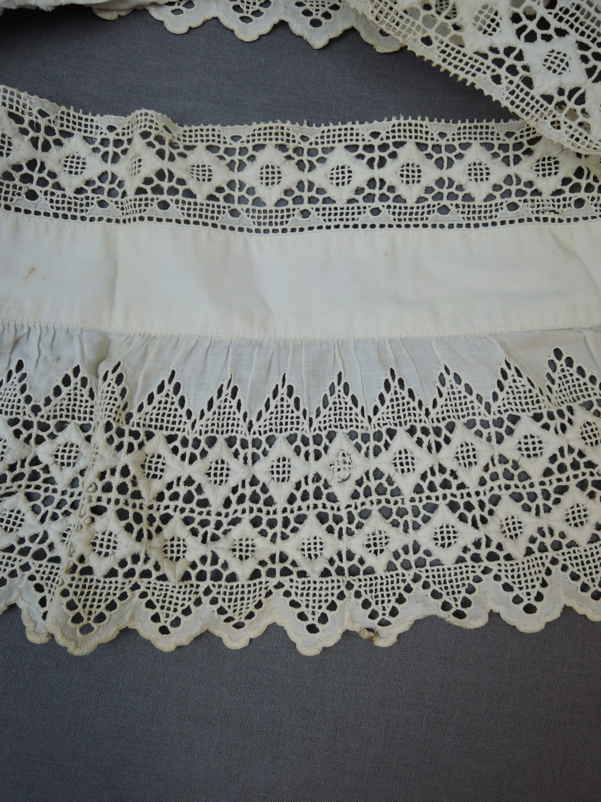 Antique Embroidered Lace Dress Trim, Victorian Drawn Work 1800s early 1900s Vintage Remnant