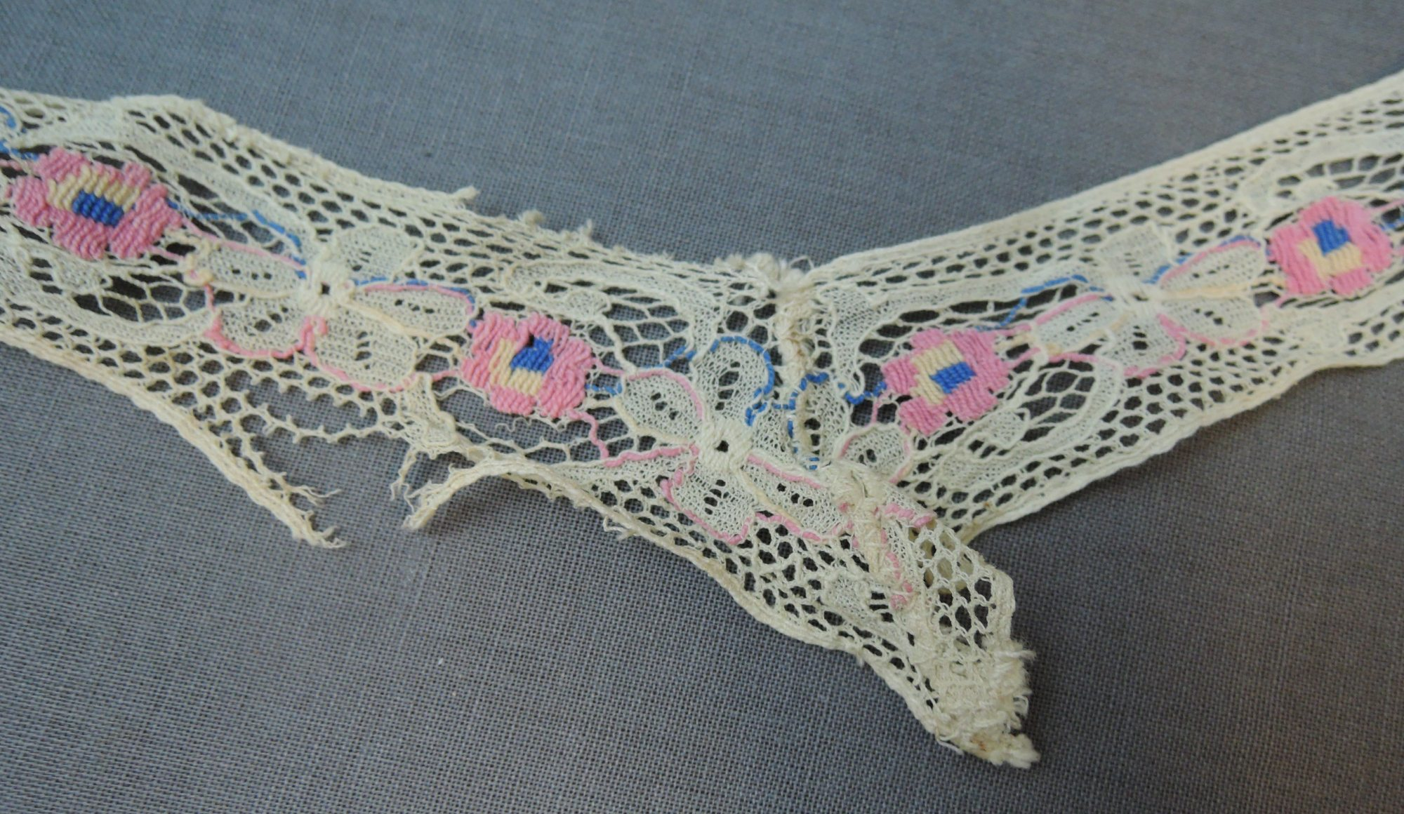 Vintage Embroidered Lace Trim, Pink & Blue Floral, 1930s 1940s Remnant